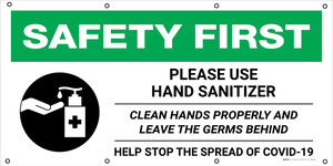 Safety First: Please Use Hand Sanitizer Clean Your Hands Properly with Icon - Banner