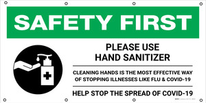 Safety First: Please Use Hand Sanitizer Cleaning Hands Is The Most Effective Way with Icon - Banner