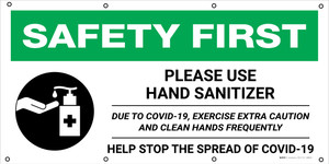 Safety First: Please Use Hand Sanitizer Due to Covid-19 with Icon - Banner
