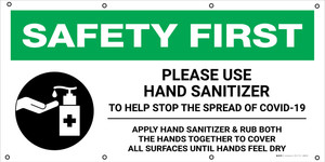 Safety First: Please Use Hand Sanitizer Help Stop The Spread Of Covid-19 with Icon - Banner