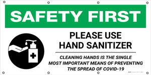 Safety First: Please Use Hand Sanitizer Prevent The Spread of COVID-19 with Icon - Banner