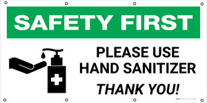 Safety First: Please Use Hand Sanitizer Thank You with Icon - Banner