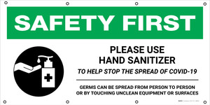 Safety First: Please Use Hand Sanitizer To Help Stop The Spread Of Covid Germs with Icon - Banner