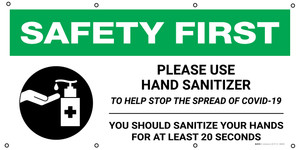 Safety First: Please Use Hand Sanitizer To Help Stop The Spread Of Covid-19 20 Seconds with Icon - Banner