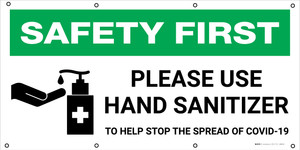 Safety First: Please Use Hand Sanitizer To Help Stop The Spread of Covid-19 with Icon - Banner