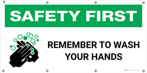 Safety First: Remember To Wash Your Hands with Icon - Banner