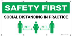 Safety First: Social Distancing In Practice with Icon - Banner