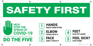 Safety First: Stop the Spread of COVID-19 Do The Five with Icon - Banner