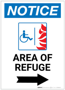 Notice: Area of Refuge with ADA Fire Icon and Right Arrow Portrait - Label