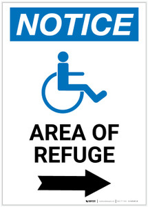 Notice: Area of Refuge with ADA Icon Right Arrow - Label