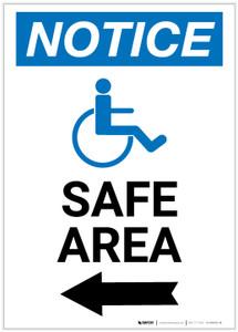 Notice: Safe Area Left Arrow with ADA Icon Portrait - Label