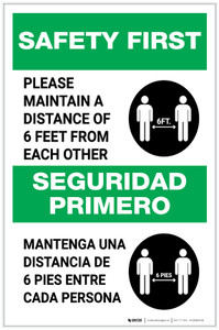 Safety First: Please Maintain A Distance Of 6 Feet Bilingual with Icon Portrait - Label