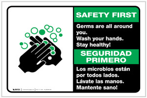 Safety First: Stay Healthy Wash Your Hands Bilingual with Icon Landscape - Label