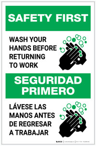 Safety First: Wash Hands Before Returning To Work Bilingual with Icon Portrait - Label