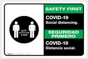 Safety First: COVID-19 Social Distancing Bilingual with Icon Landscape - Label