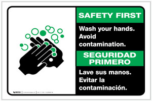 Safety First: Wash Your Hands Avoid Contamination Bilingual with Icon Landscape - Label