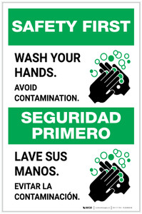 Safety First: Wash Your Hands Avoid Contamination Bilingual with Icon Portrait - Label