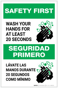 Safety First: Wash Your Hands For At Least 20 Seconds Bilingual with Icon Portrait - Label