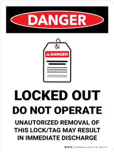 Danger: Locked Out Do Not Operate Portrait - Wall Sign