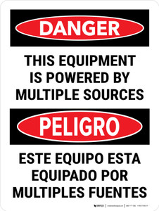Danger: This Equipment Is Powered By Multiple Sources Bilingual Portrait - Wall Sign