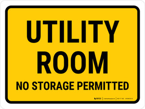 Utility Room No Storage Permitted Landscape - Wall Sign