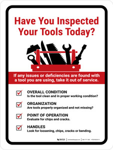 Have You Inspected Your Tools Today Portrait - Wall Sign