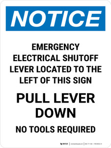 Notice: Emergency Electrical Shutoff Lever Portrait - Wall Sign