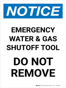 Notice: Emergency Water And Gas Shutoff Tool Portrait - Wall Sign