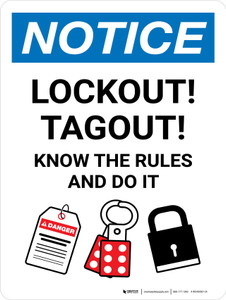 Notice: Lockout! Tagout! Know The Rules And Do It Portrait - Wall Sign