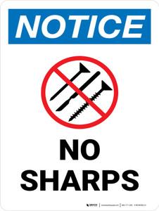 Notice: No Sharps Portrait - Wall Sign