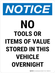 Notice: No Tools Or Items Stored In Portrait - Wall Sign