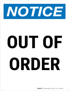 Notice: Out Of Order Portrait - Wall Sign
