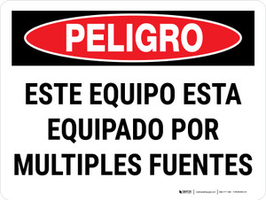 Danger: This Equipment Is Powered By Multiple Sources Spanish Landscape - Wall Sign