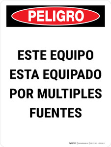 Danger: This Equipment Is Powered By Multiple Sources Spanish Portrait - Wall Sign