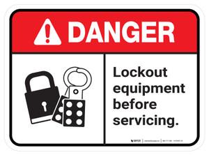 Danger: Ansi Lock Out Equipment Before Servicing Rectangular - Floor Sign