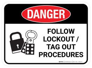 Danger: Follow Lockout Tag Out Procedures Rectangular - Floor Sign