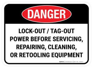 Danger: Lockout Tagout Power Before Servicing, Repairing, Cleaning Or Retooling Equipment Rectangular - Floor Sign