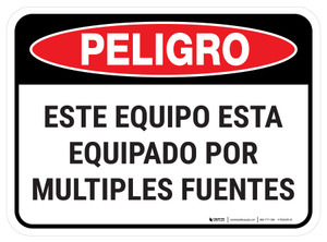 Danger: Spanish This Equipment Is Powered By Multiple Sources Rectangular - Floor Sign