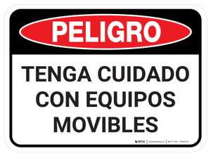 Danger: Spanish Watch Out For Moving Equipment Rectangular - Floor Sign