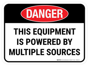 Danger: This Equipment Is Powered By Multiple Sources Rectangular - Floor Sign