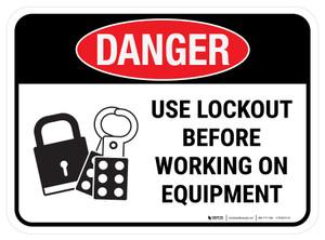 Danger: Use Lockout Before Working On Equipment Rectangular - Floor Sign