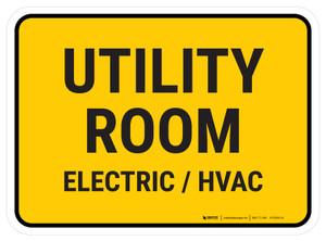 Utility Room Electric Hvac Rectangular - Floor Sign