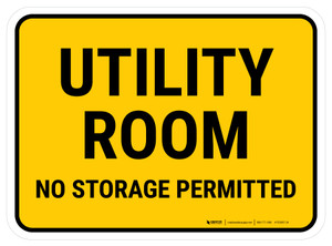 Utility Room No Storage Permitted Rectangular - Floor Sign