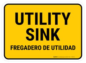 Utility Sink Bilingual Rectangular - Floor Sign