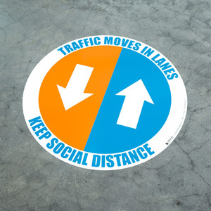 Traffic Moves In Lanes - Keep Social Distance - Floor Sign