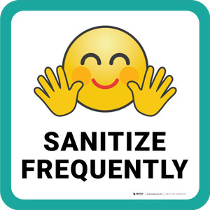 Sanitize Frequently with Emoji Square - Floor Sign