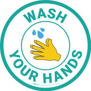 Wash Your Hands with Emoji Blue Circular - Floor Sign
