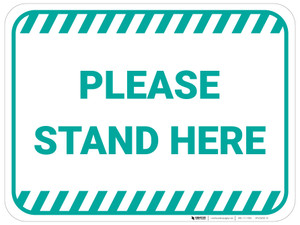 Please Stand Here - Green - Floor Sign