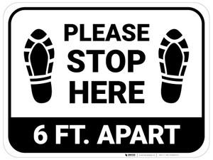 Please Stop Here 6 Ft Apart Shoe Prints Rectangle - Floor Sign