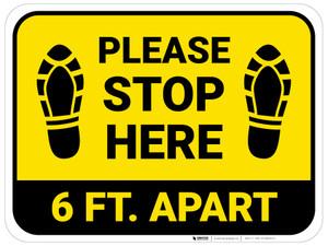 Please Stop Here 6 Ft Apart Shoe Prints Yellow Rectangle - Floor Sign